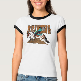 Paint Reining Horse Ladies Ringer T-shirt