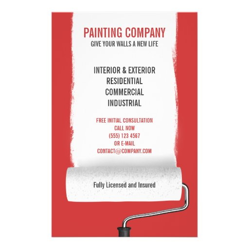 Paint Roller Painting Company Contractor Flyer Zazzle