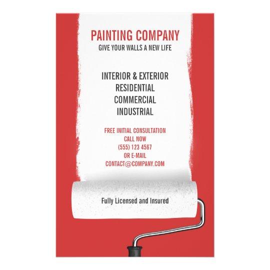Paint Roller Painting Company Contractor Flyer Zazzle Com Au