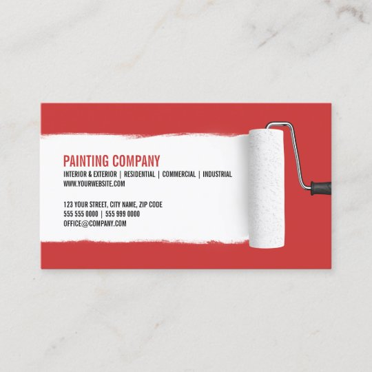How To Start A Painting Business From Scratch: Paint Roller Painting Contractor Business Card