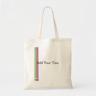 Paint Roller Stripes in Green Orange and Purple Budget Tote Bag
