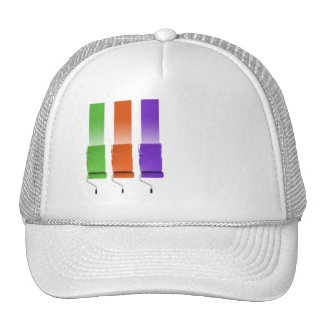 Paint Roller Stripes in Green Orange and Purple Mesh Hat