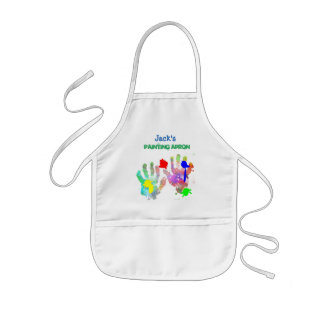 Paint Splash and Hand Print Artist Kids Apron