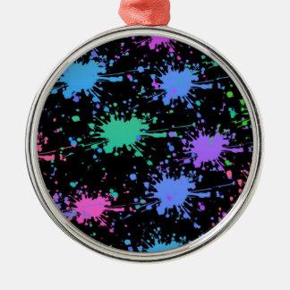 Paint Splash Silver-Colored Round Decoration