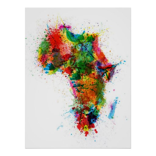 Paint Splashes Map of Africa Map Posters