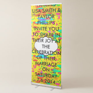 Paint splashes on a yellow background retractable banner