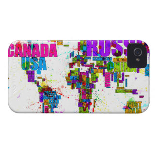 Paint Splashes Text Map of the World iPhone 4 Case