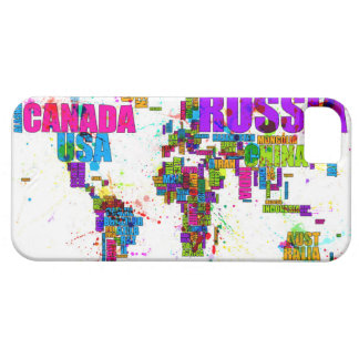 Paint Splashes Text Map of the World iPhone 5/5S Covers