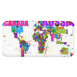 Paint Splashes Text Map of the World iPhone 5C Cover