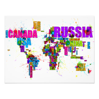 Paint Splashes Text Map of the World Photograph