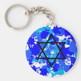 Paint Splatter Blue Jewish Star Key Ring