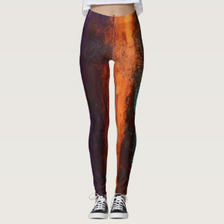 Paint Splatter Leggings Orange Green Deep Purple