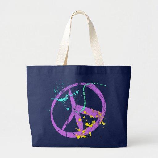 Paint Splatter Peace Sign Jumbo Tote Bag