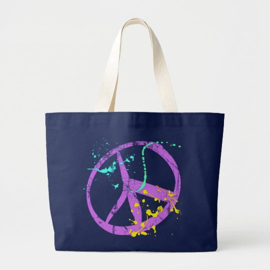 Paint Splatter Peace Sign Large Tote Bag