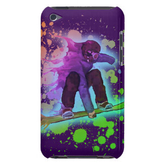 Paint splatter rainbow snowboarder ipod touch case