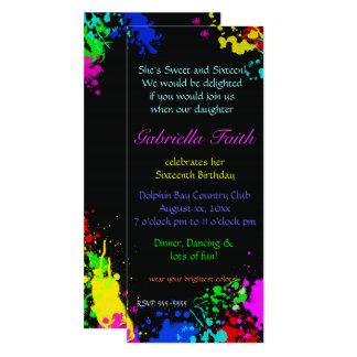 Paint Splatter Sweet Sixteen Custom Invitation