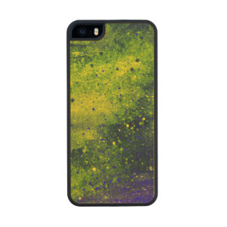 Paint Splatter Texture in Green Blue and Yellow Carved® Maple iPhone 5 Case