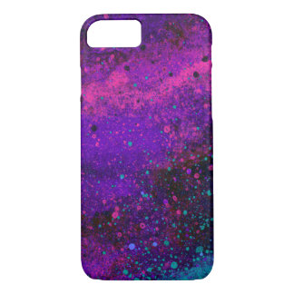 Paint Splatter Texture in Pink Purple and Blue iPhone 8/7 Case