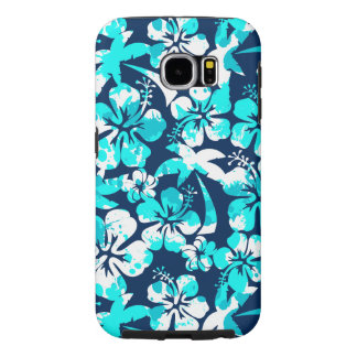 Paint splattered hibiscus and palms samsung galaxy s6 cases