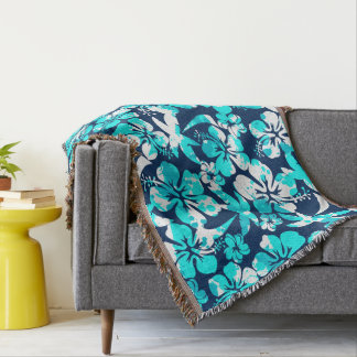 Paint splattered hibiscus and palms throw blanket
