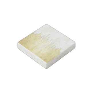 Paint Strokes in Faux Gold Stone Magnet