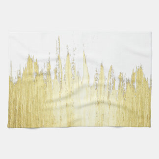 Paint Strokes in Faux Gold Tea Towel