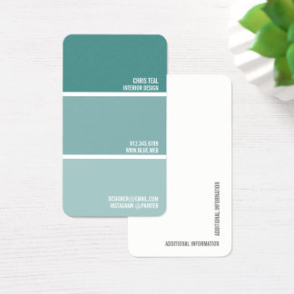 Paint Swatch | Teal Paint Chips Painter Decorator Business Card