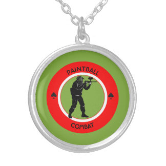 Paintball Combat Silver Plated Necklace