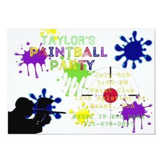 Paintball Party White Splat Invitation
