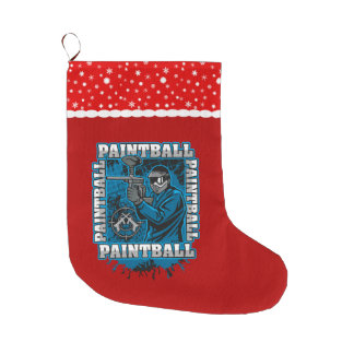 Paintball Player Blue Team Large Christmas Stocking