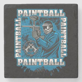 Paintball Player Blue Team Stone Coaster