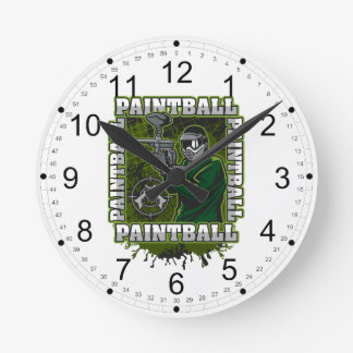 Paintball Player Green Team Round Clock