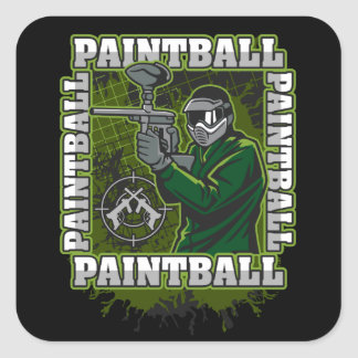 Paintball Player Green Team Square Sticker