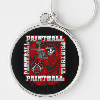 Paintball Player Red Team Colors Key Ring