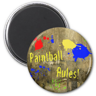 Paintball Rules on a Grunge Wall Refrigerator Magnets