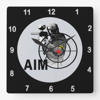 Paintball Shooter AIM Square Wall Clock