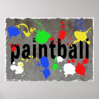 Paintball Splatter on Concrete Wall Poster