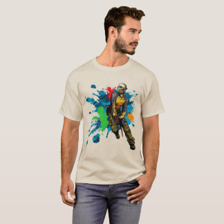 Paintball Warrior, Multicolored Splash, T-Shirt