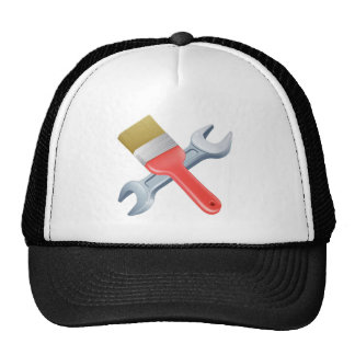 Paintbrush and spanner tools mesh hat