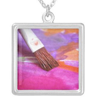 Paintbrush Square Pendant Necklace