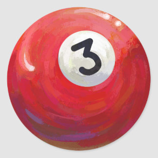 Painted 3 Pool Ball Pattern Classic Round Sticker