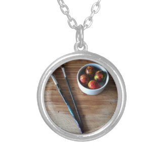 Painted Abstract Quail Eggs Silver Plated Necklace