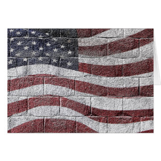 Painted American Flag on Brick Wall Texture Greeting Card