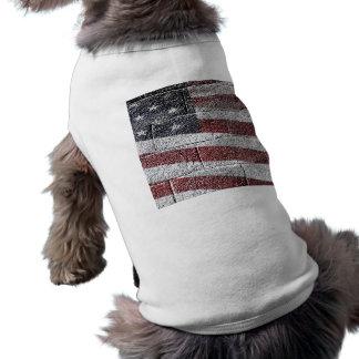 Painted American Flag on Brick Wall Texture Doggie Tshirt