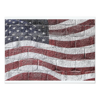 Painted American Flag on Brick Wall Texture 14 Cm X 19 Cm Invitation Card