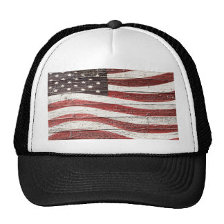 Painted American Flag on Rustic Wood Texture Cap