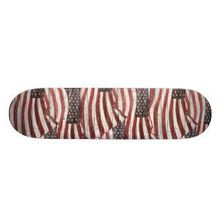 Painted American Flag on Rustic Wood Texture Custom Skateboard