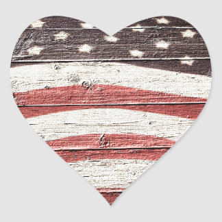 Painted American Flag on Rustic Wood Texture Heart Sticker