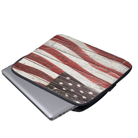 Painted American Flag on Rustic Wood Texture Laptop Sleeve