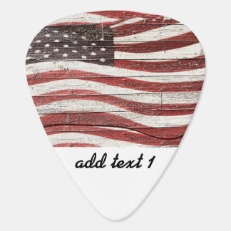 Painted American Flag on Rustic Wood Texture Plectrum